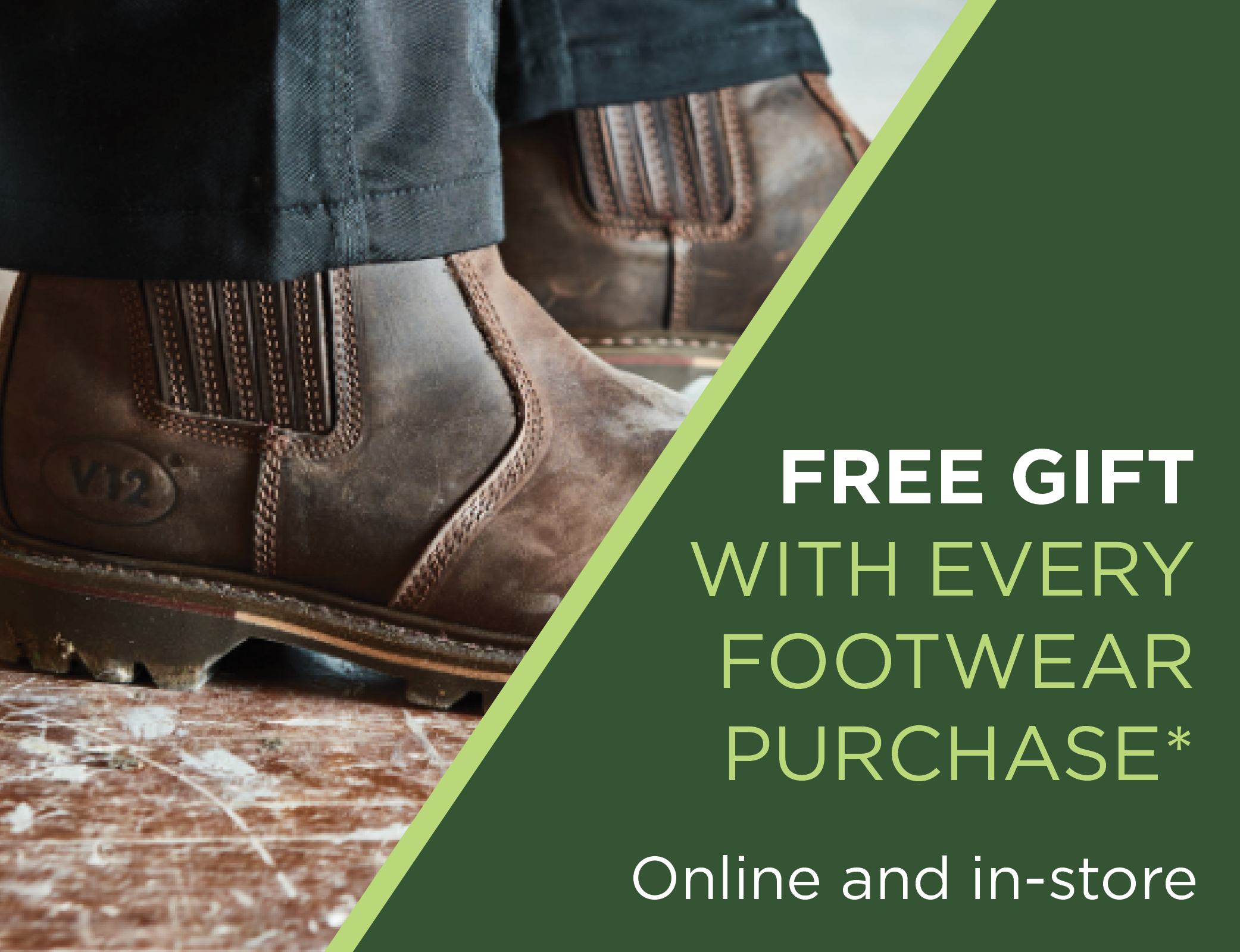 Free Gift With Every Footwear Purchase – Buckler Boots and V12